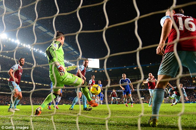 Quick reactions: The West Ham keeper stuck out his foot to keep Terry's header out