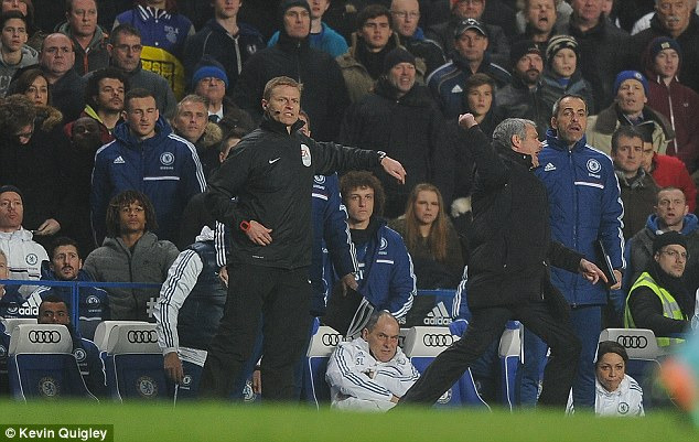 Scream: The Chelsea boss was frustrated all evening as his side couldn't find a way through West Ham