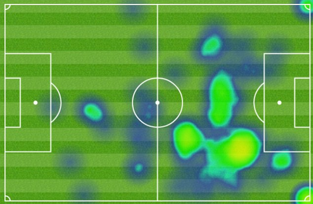 On the ball: Willian's heat map shows he was consistently involved on the right - and took corners