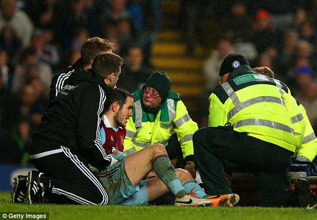 Casualty: Joey O'Brien is helped off the pitch after suffering an arm injury