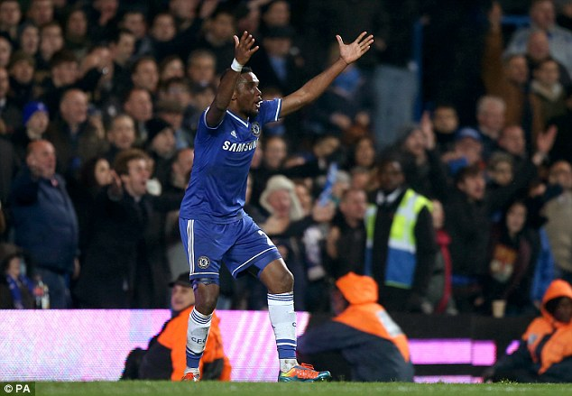 Appeal: Samuel Eto'o was sure he should have had a goal but it was ruled out