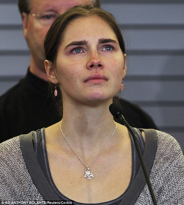 Tears: An emotional Knox, pictured in 2011, after her guilty verdict was overturned following an appeal
