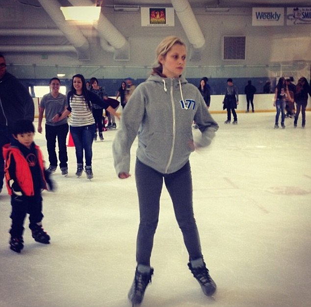 Still out and about: Nine months of pregnancy isn't enough to tire Teresa, who posted a picture to Instagram of herself ice-skating on Saturday
