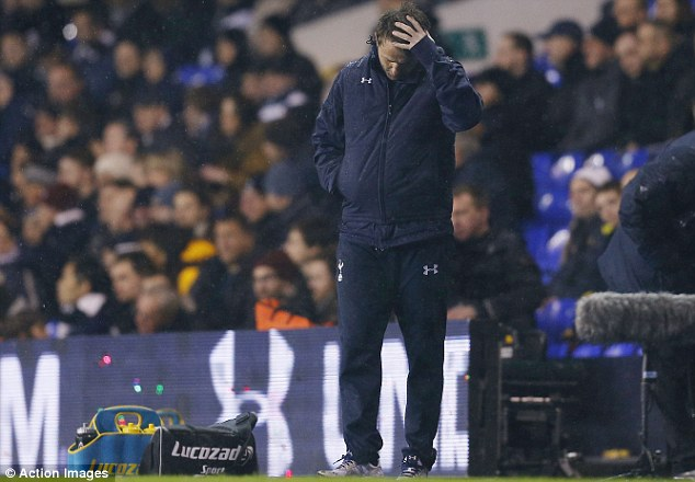 Head in hands: Tim Sherwood looks downcast during Tottenham's 5-1 defeat by Manchester City