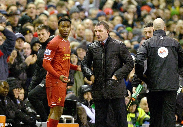Annoyed: Sturridge and Brendan Rodgers had a disagreement on the touchline when he was taken off