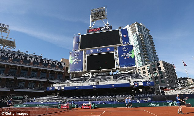 Unique venue: The Davis Cup tie will be played on a specially-constructed court on the left field of PETCO Park, home of the San Diego Padres baseball team