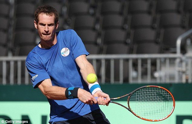 Acclimatisation: Murray was getting a practise session on clay under his belt before the tie begins