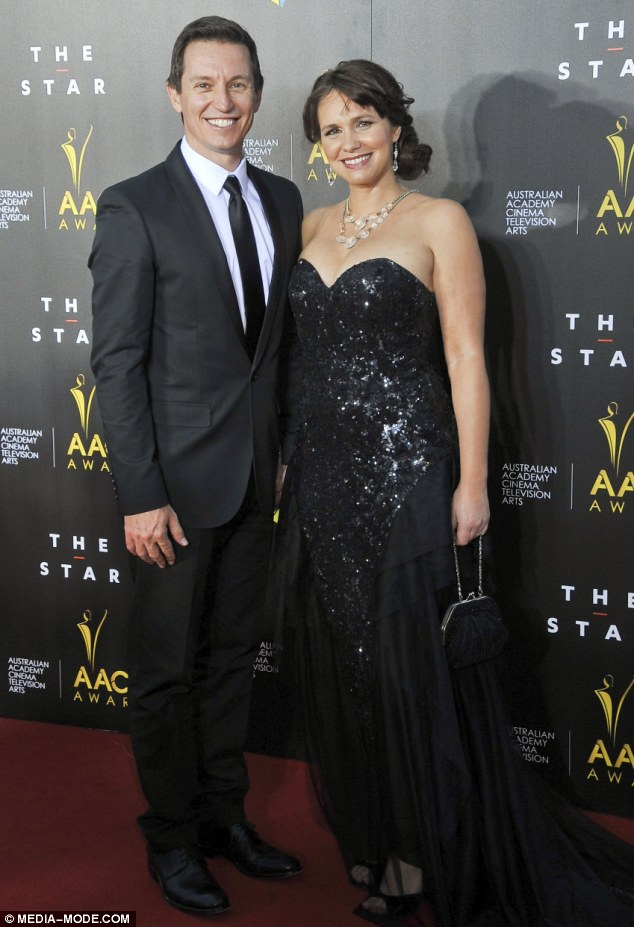 New parents: Tasma Walton and her hubby Rove McManus hit the red carpet at the AACTA awards in Sydney on Thursday. The Best Female nominee looked stunning in a sequined, floor length black gown