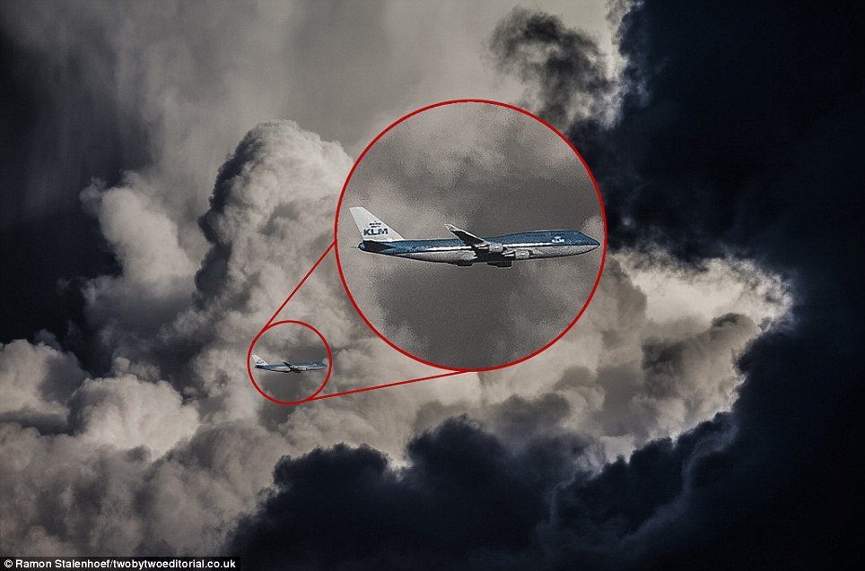 Up, up and away: This 747 is about to fly into jumbo storm clouds