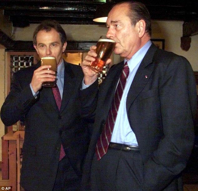 Pub diplomacy: Tony Blair sought to win over French President Jacques Chirac in 2000 with a pint in the County restaurant in the Labour PM's constituency in County Durham ahead of a summit in France