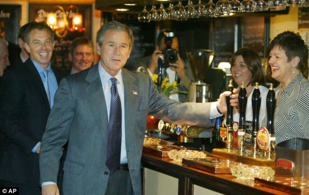 In 2003 Mr Blair repeated the trick, taking US President George W Bush to the Dun Cow pub in his constituency