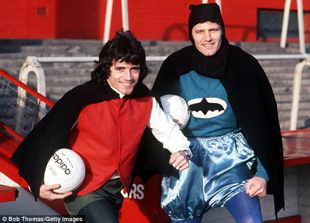 Little and large duo: Kevin Keegan (left) and John Toshack, for some reason dressed up as Batman and Robin, had a telepathic understanding while at Liverpool