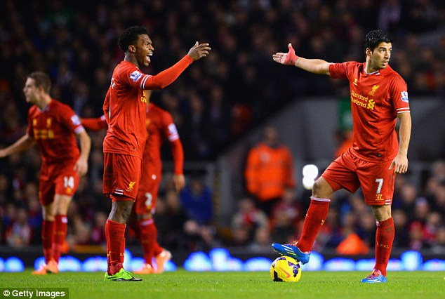 I can't work with him! Luis Suarez (right) and Daniel Sturridge have a fractious relationship at Liverpool
