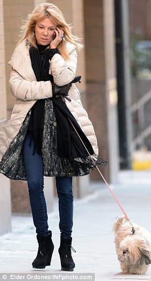 Walking out: Ramona was seen talking on her phone in New York in the wake of her divorce on Thursday