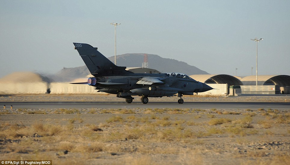 Historic: Jets from the famous 617 Squadron fly from Khandahar Airfield, Afghanistan, for the final time before it is disbanded for only the third time in its history