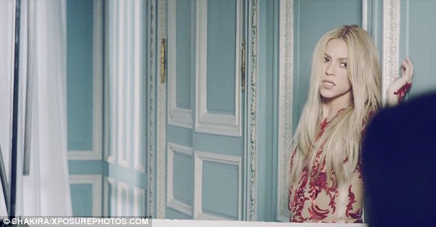 Mansion minx: The video was shot at a chateau-style mansion with heavily paneled walls that Shakira made good use of in this seductive scene