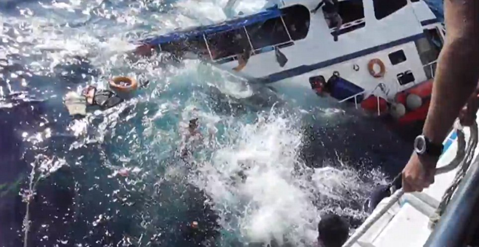 Illegal and unregistered: The boat, named Aladdin, which was illegally operating in the area, quickly sank after its hull was punctured