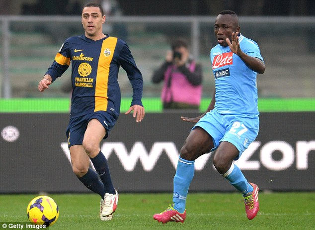 Talks: West Ham have struck a deal with Italian side Napoli for left-back Pablo Armero (right)