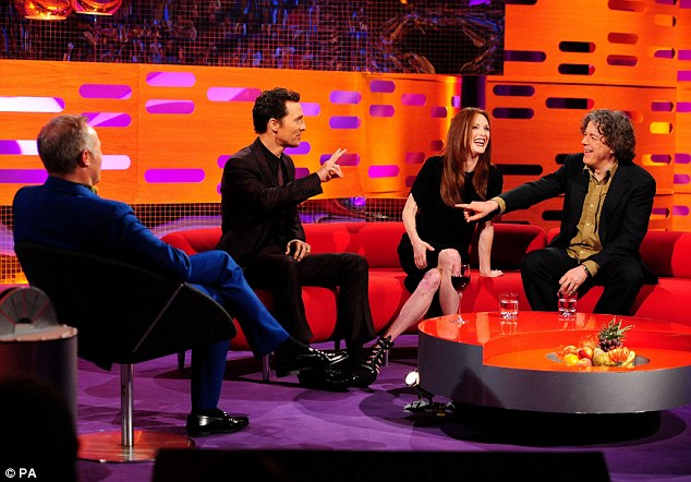 Making a point: (L-R) Graham, Matthew, Julianne Moore and Alan Davies during the filming