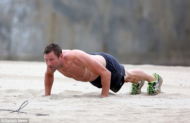 Now you're just showing off! Aaron also did some push-ups, displaying his strength