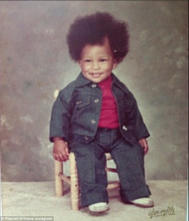 So cute: Pharrell Williams took fans back to his younger years by posting a childhood photo on Instagram