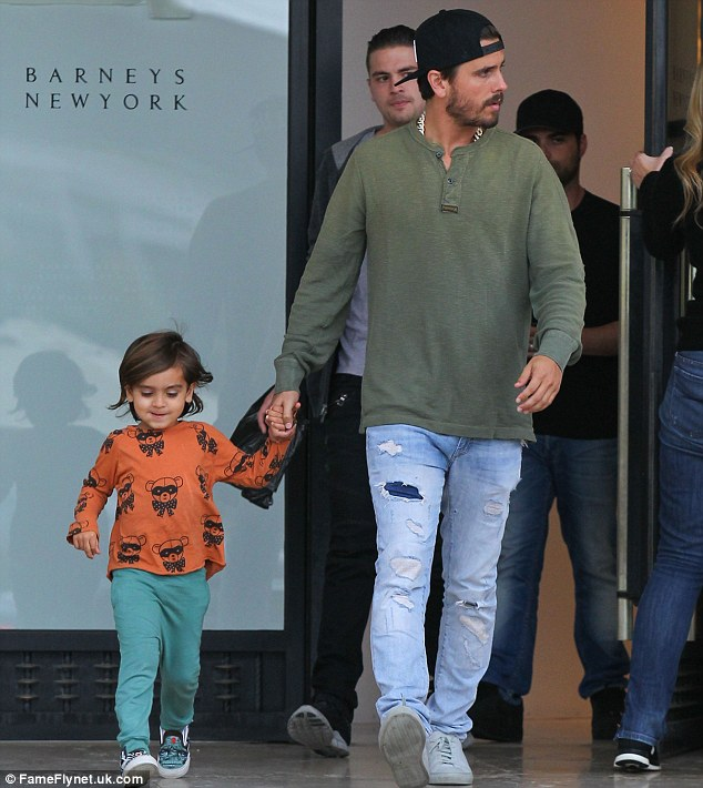Retail therapy for boys: Kourtney Kardashian's longtime partner Scott Disick spent some quality time with their son, Mason, on a shopping trip in Beverly Hills, California, on Thursday