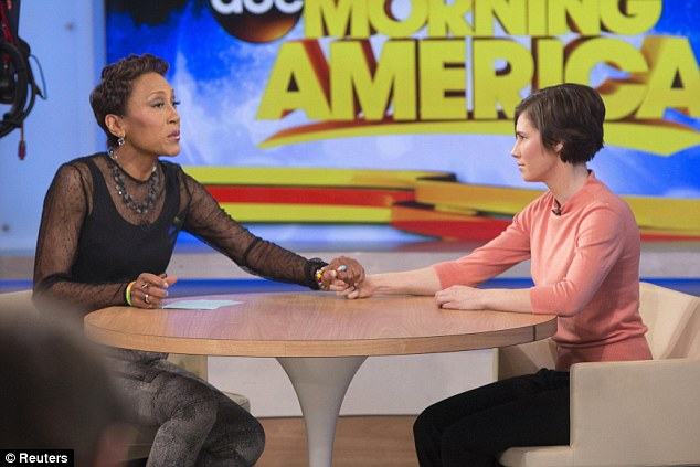 Support: GMA's Robin Roberts offered her support to Knox as she struggled to contain her tears