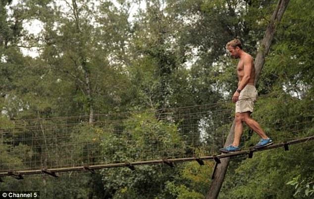 Big kid: Ben visits the treehouse Colbert built