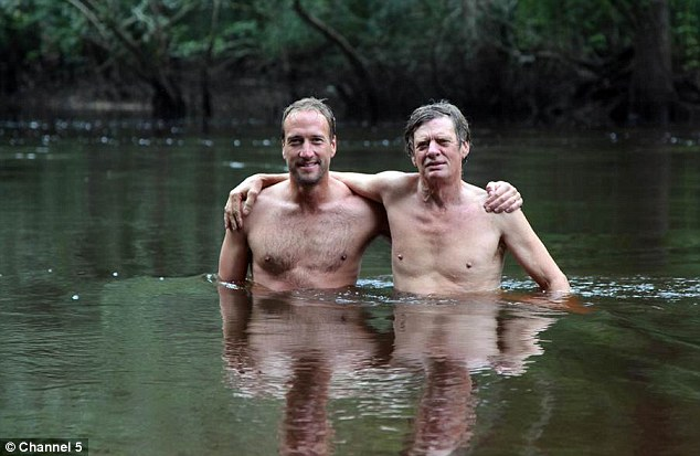 Splashing around: Ben joins Colbert for a swim in the river