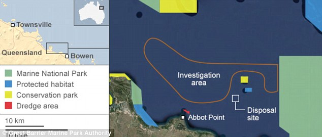 This map show the location of the port and the disposal site. Authorities have said they would consider an alternative location if one was found 'to be equal to or better in terms of environmental or heritage outcomes.' Scientists are investigating an area north of the port where the sediment could be dumped instead