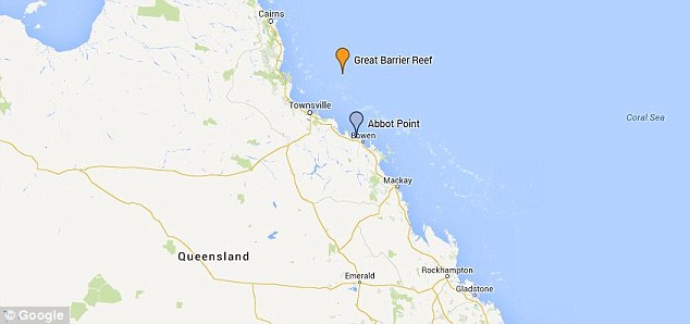 This map shows the location of the port, at Abbot Point (in blue) and the Great Barrier Reef (in orange)