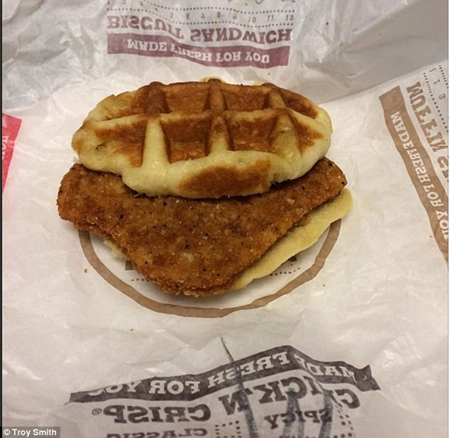 Hearty meal: Burger King has unveiled a new sandwich - fried chicken wedged between two waffle 'buns'