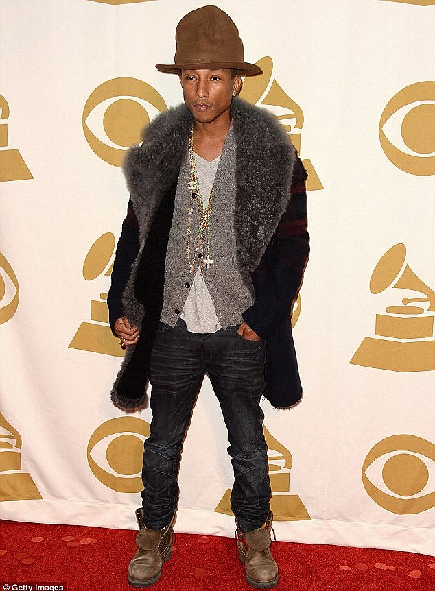Working it: Pharrell wore the hat to The Night That Changed America: A Grammy Salute To The Beatles in January, the day after he debuted it at the Grammys