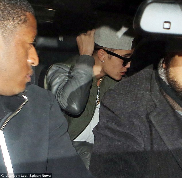 Arrivals: Bieber is driven to New York City after being held up while drug dogs searched his jet