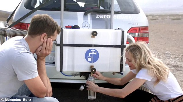 Drink up: The car uses compressed hydrogen so emits only water, which the company claimed was clean enough to drink