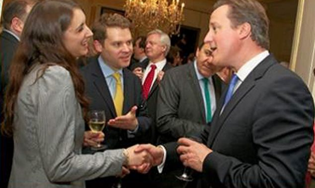 Top level: Aidan Burley introduces his fiancée to David Cameron at a Downing Street reception in 2012