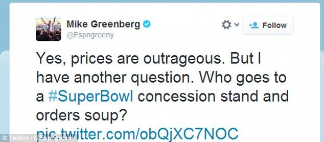Mike Greenberg of ESPN thought the expensive soup pricing was laughable