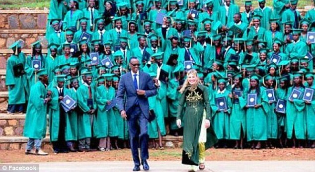 Recent visit: Heyman attended a graduation ceremony at the Rwandan youth village just two weeks ago