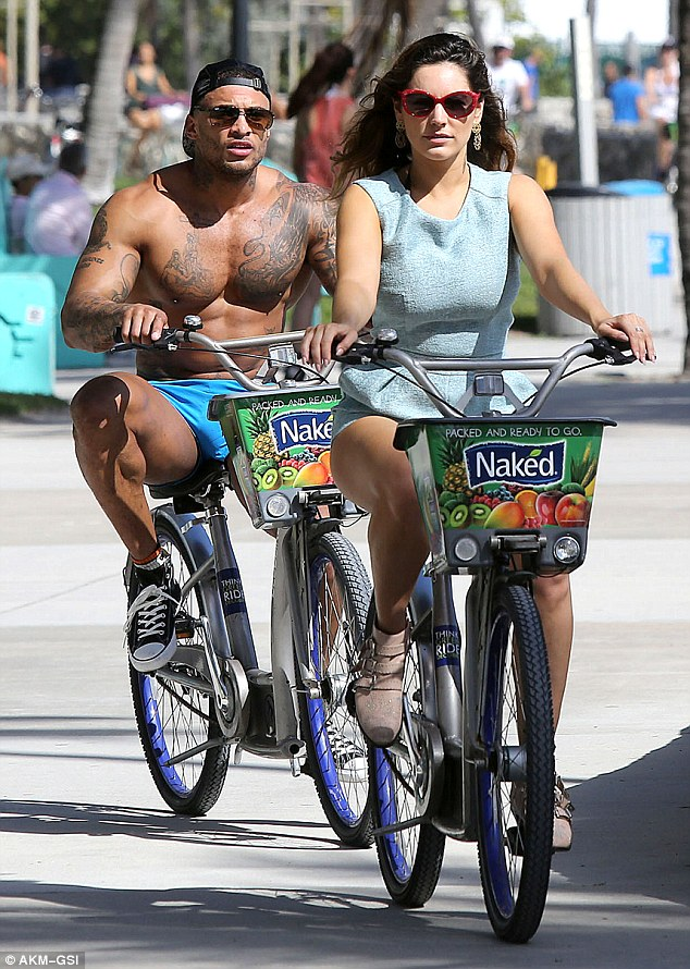 Two wheels are better than one: Kelly and David rented out bikes and rode along South Beach to an outdoor gym