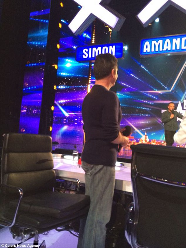 Caught! Simon Cowell's secret booster seat was pictured at the Birmingham auditions of Britain's Got Talent on Saturday