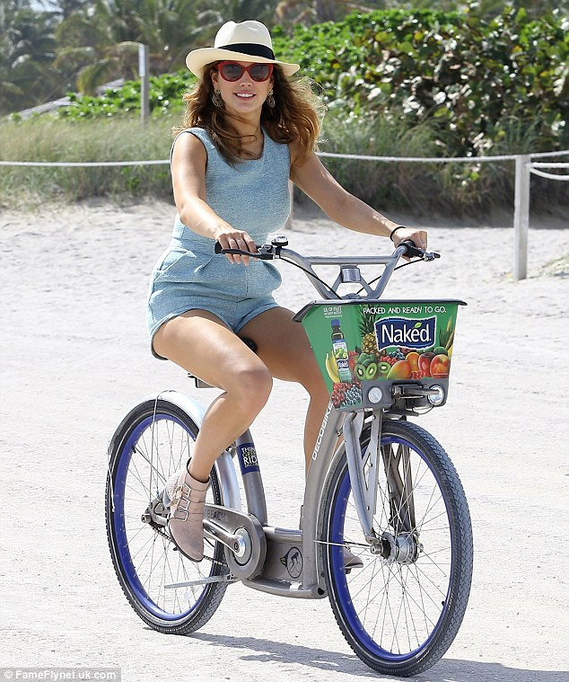 Having a wheely nice time: Kelly seemed to be relishing in having some rare time off from her usually frantic schedule