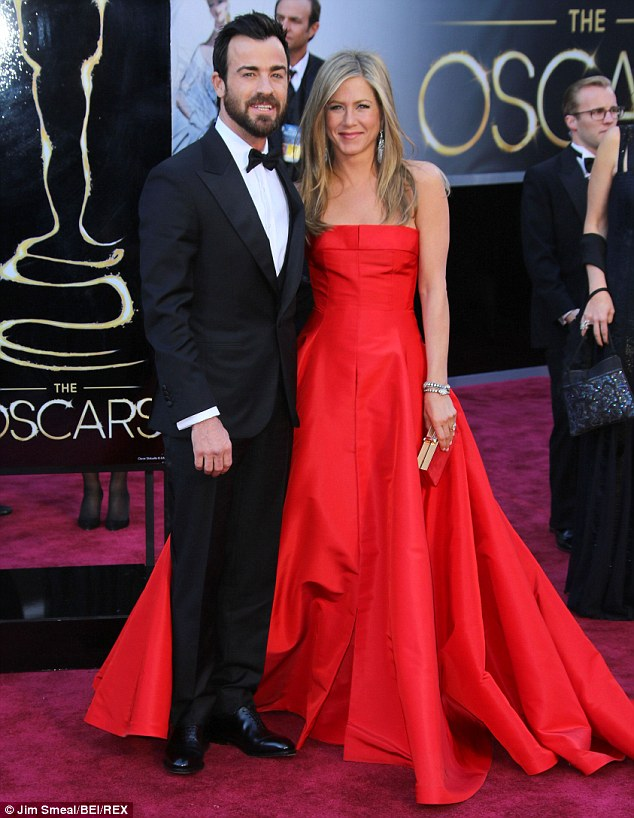 To be married: Jennifer is engaged to actor Justin Theroux, pictured here at the Oscars in February 2013