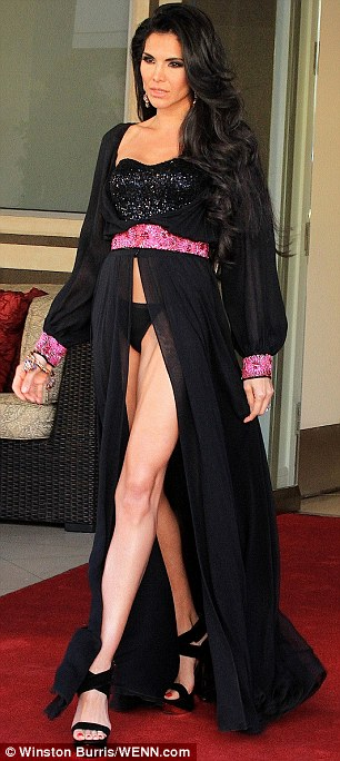Legs galore: Joyce Giraud displayed her long legs on Monday during a magazine cover shoot in Beverly Hills, California