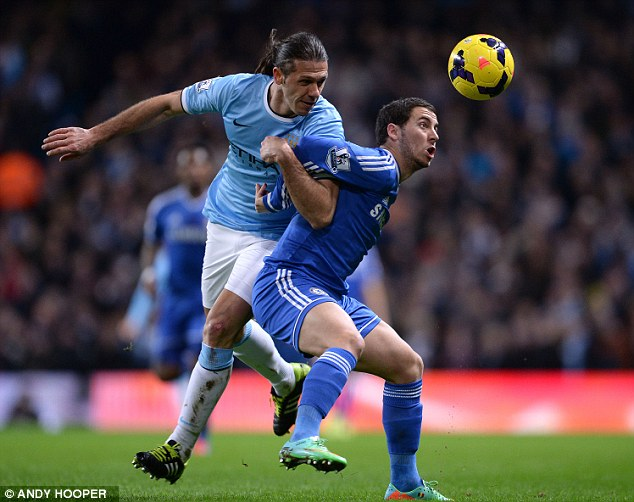 Holding him off: Hazard showed he had the sort of physical capacity to stamp his authority on big games