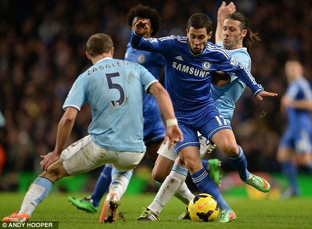 Catch me if you can: Eden Hazard was full of running for Chelsea and didn't give City a moment's peace