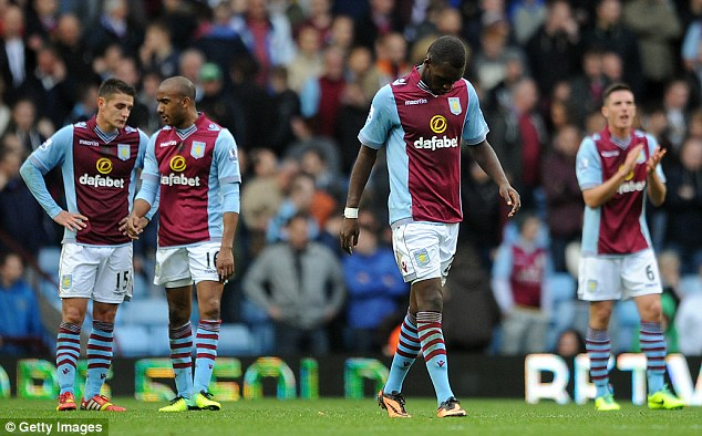Struggles: Villa may be lying in mid table in the Premier League but are only five points above the drop zone
