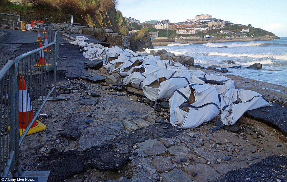 Rebuilding project: Damage to the promenade and seafront at Towan beach in Newquay, Cornwall, following the recent Atlantic storms