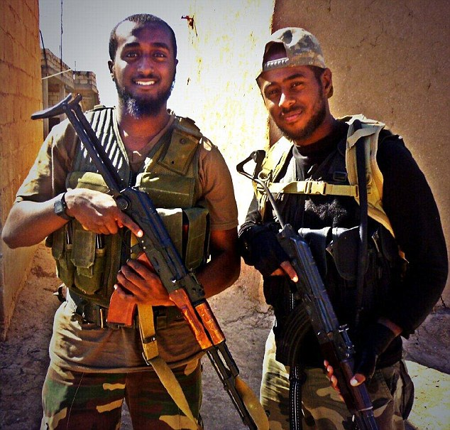 Battle ready: Brothers Mohamed (left) and Akram Sebah, from London, died waging jihad in Syria's civil war