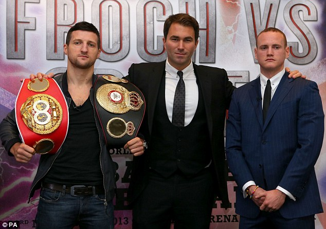 Rematch: Promoter Eddie Hearn (centre) is confident Carl Froch (left) and George Groves (right) will fight again