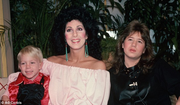 Back in the day: Cher, pictured with children Elijan (left) and Chastity, now Chaz, Bono (right) back in 1982